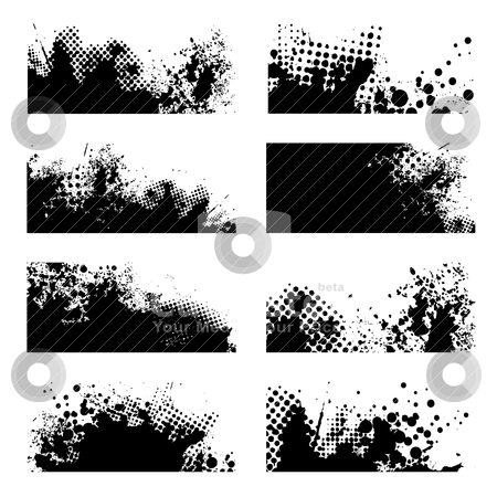 Grunge black splat stock vector clipart, Black ink grunge with halftone dot and eight variations by Michael Travers