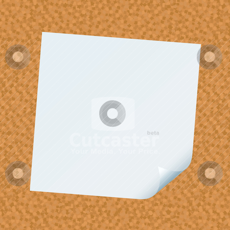 Stick note cork stock vector clipart, Cork board with white paper note with corner curl by Michael Travers
