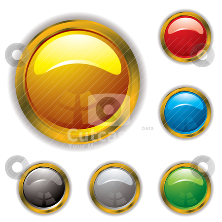 Gold bevel gel stock vector clipart, Circular gel filled icons with gold bevel and drop shadow by Michael Travers