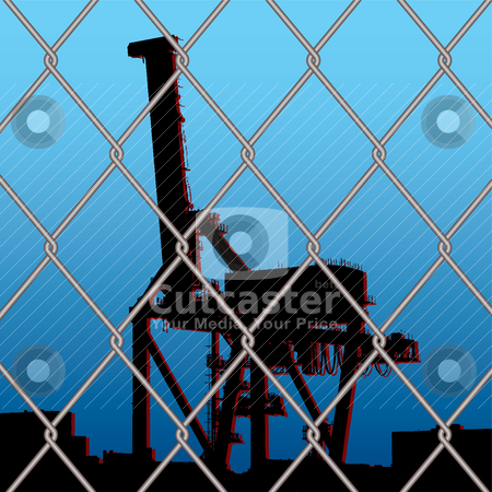 Crane wire fence stock vector clipart, Silhouette crane outline with city skyline with wire fence by Michael Travers