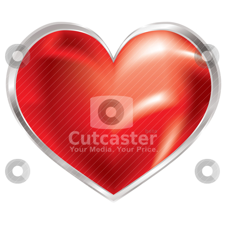 Love heart shimmer silver stock vector clipart, Love heart with silver bevel and shimmering red fluid shape by Michael Travers