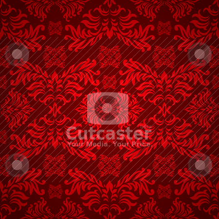 Red floral gothic stock vector clipart, Red and maroon floral background with a seamless repeat design by Michael Travers