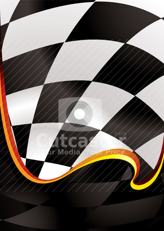Checkered wave golden stock vector clipart, Checkered flag background with wave effect and room to add copy by Michael Travers