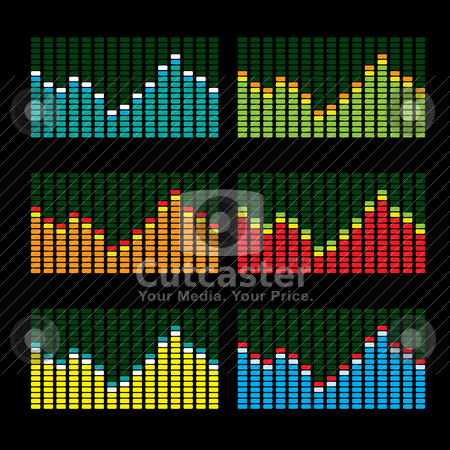 Equalizer variation stock vector clipart, Collection of six graphic equalisers in various color variations by Michael Travers