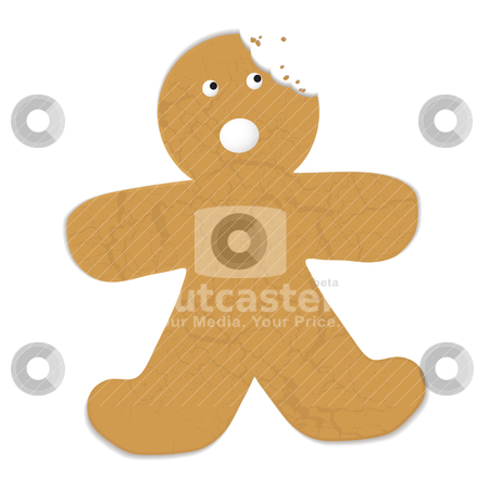 Gingerbread man bite stock vector clipart, Gingerbread man with a bite out of his head and startled expression by Michael Travers