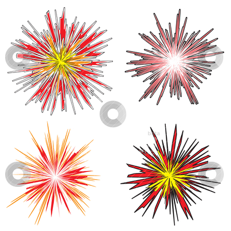 Explosion stock vector clipart, Four various explosions with cartoon style fire in bright colors by Michael Travers