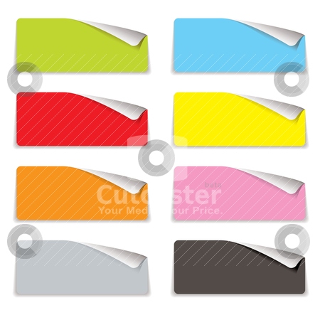 Oblong corner curl stock vector clipart, Collection of eight colorful tags with corner curl and shadow by Michael Travers