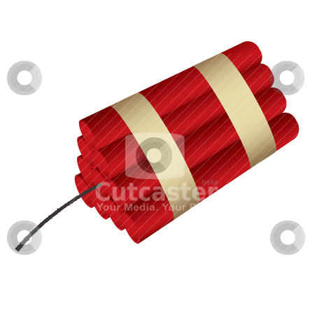 Dynamite stock vector clipart, Sticks of dynamite bound together with black fuse by Michael Travers