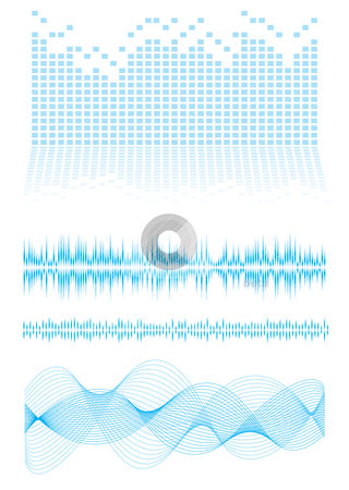 Equalizer type stock vector clipart, Music inspired background in blue with sound waves and equalizer graph by Michael Travers
