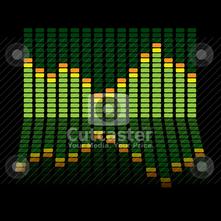 Graphic equalizer reflect stock vector clipart, Graphic equalizer background with the chart reflected in the black surface by Michael Travers