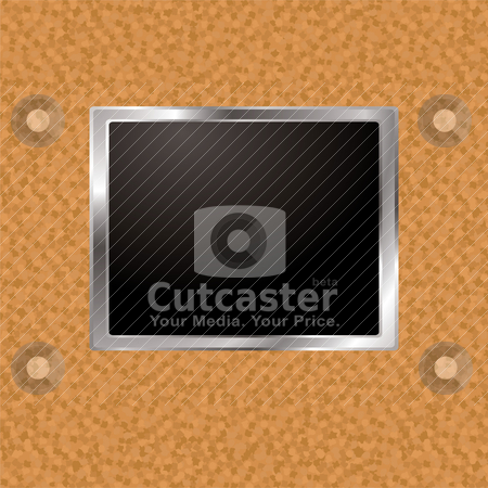 Cork frame stock vector clipart, Cork board wall with silver bevel frame and blank image holder by Michael Travers