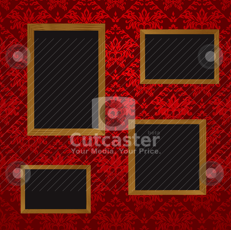 Four picture frames stock vector clipart, Four wooden picture frames with blank space for your own picture and red wallpaper design by Michael Travers
