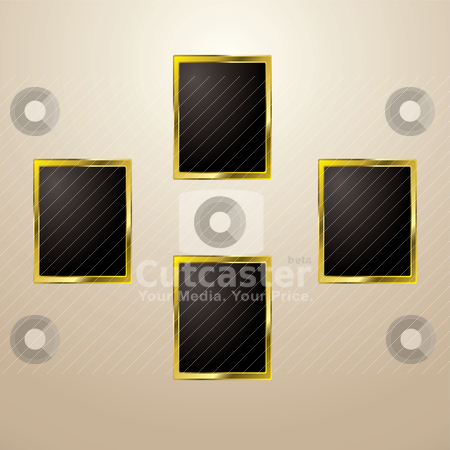 Gold picture frame stock vector clipart, Four blank golden picture frames with room to add your own image by Michael Travers