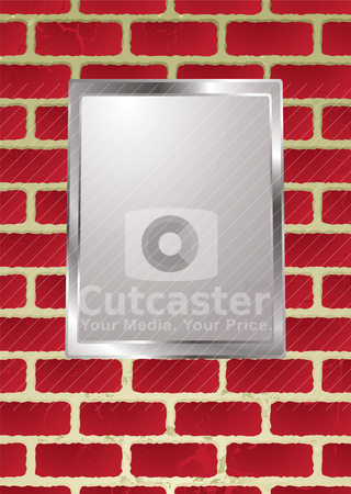 Brickwall frame stock vector clipart, Silver picture frame hanging on a brick wall with shadow by Michael Travers