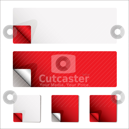 Red curl page stock vector clipart, Clean red and white stickers with backing and page curl by Michael Travers