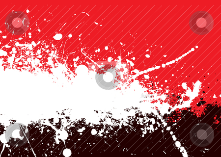 Divide tone stock vector clipart, Red and black abstract background with ink splats by Michael Travers