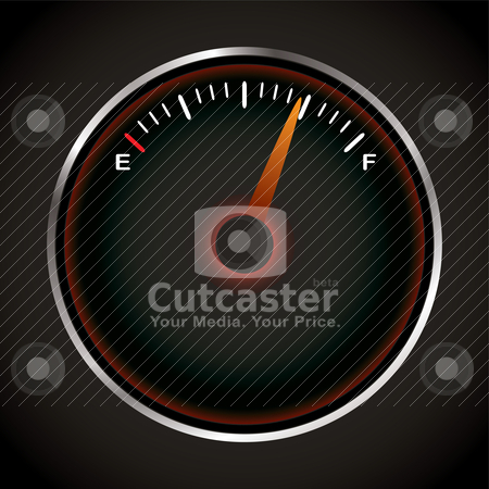 Fuel dial stock vector clipart, Fuel dial with red neon and silver bevel by Michael Travers