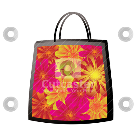 Floral bag stock vector clipart, Illustrated colorful floral bag with bright vibrant flowers by Michael Travers