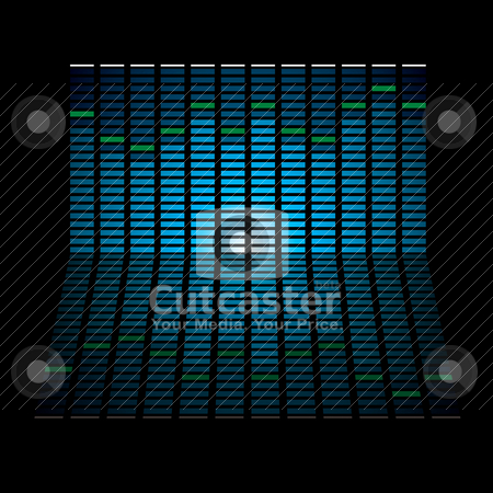 Oblong graph stock vector clipart, Musical graph with glowing lights and reflection in black background by Michael Travers