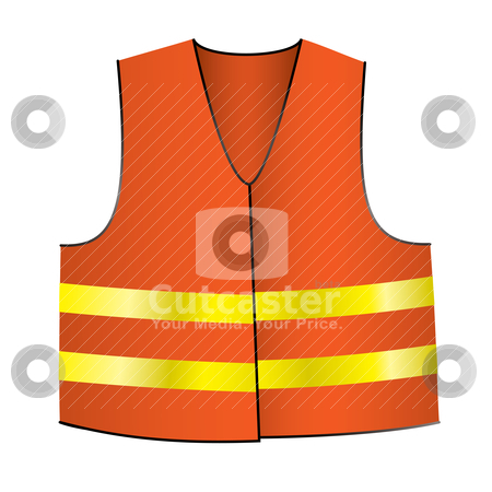 Safety jacket stock vector clipart, Illustrated Orange safety jacket with yellow shiny stripes by Michael Travers