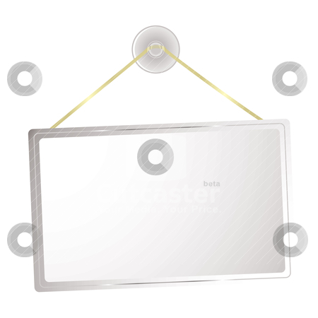 Sticky sign stock vector clipart, Blank shop sign with sticky clear plastic hanger and silver bevel by Michael Travers