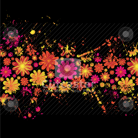 Floral ink splat stock vector clipart, Brightly colored floral ink splat design with black background by Michael Travers