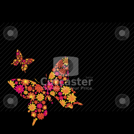 Butterfly floral stock vector clipart, Bright Floral inspired butterfly background with copy space by Michael Travers