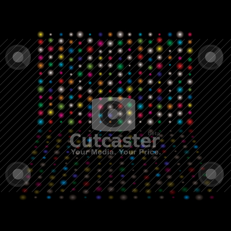 Light glow equaliser stock vector clipart, Bright rainbow glowing lights with reflection and black background by Michael Travers