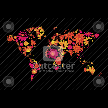 Floral world stock vector clipart, Brightly colored floral world design with black background by Michael Travers