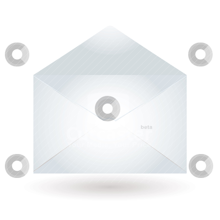 Envelope light blue stock vector clipart, Plain white envelope with flap open creating shadows by Michael Travers