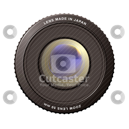 Zoom lens stock vector clipart, Illustrated close up of a camera zoom lens with reflections by Michael Travers