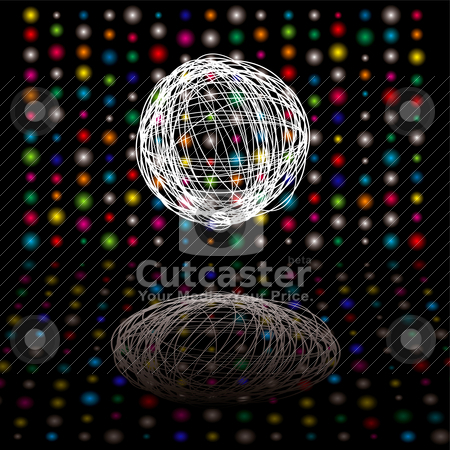 Disco scribble stock vector clipart, Disco bright lights with scribble ball on a black background by Michael Travers