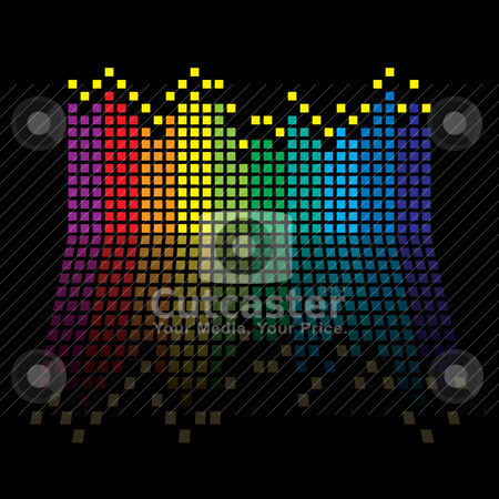 Rainbow equaliser stock vector clipart, Rainbow music graphic equaliser with reflection in black background by Michael Travers
