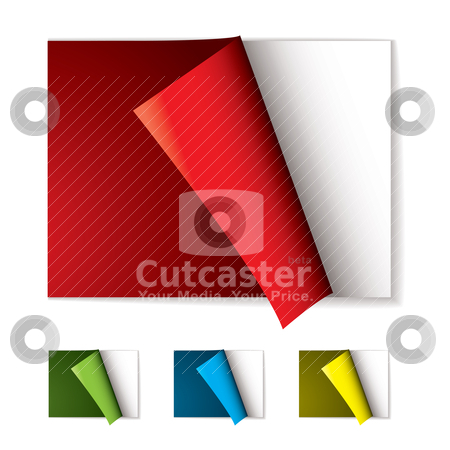 Book page curl stock vector clipart, Book with the front cover curled back and color variation by Michael Travers