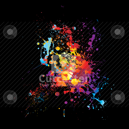 Rainbow dribble splat stock vector clipart, Rainbow ink splat with abstract bright colors with black background by Michael Travers