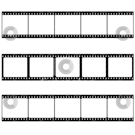 Photo film strip stock vector clipart, Strip of three reels with room to add your own image by Michael Travers