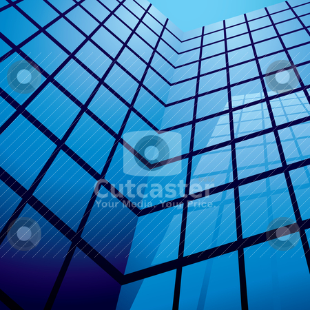 Office building reflection stock vector clipart, Office building with glass windows and reflection with blue sky by Michael Travers