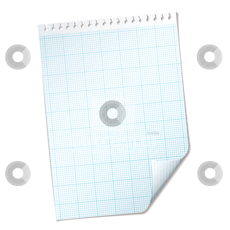 Ripped sheet grid stock vector clipart, Single piece of paper with graph grid with blue mesh by Michael Travers