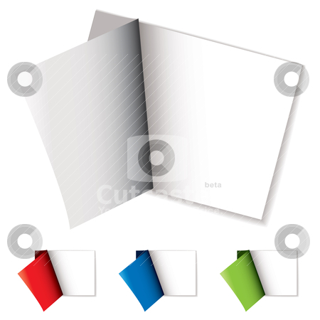 Sticker page curl stock vector clipart, White sticker with colorful cover page peeled off with shadow by Michael Travers