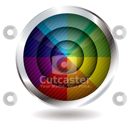 Beach ball button target stock vector clipart, Rainbow divided button with silver bevel and drop shadow by Michael Travers