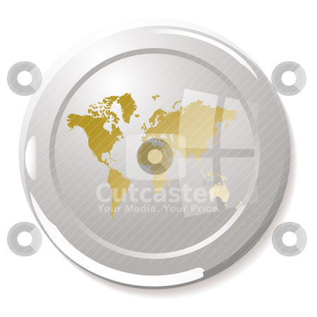 Paper weight stock vector clipart, Silver glass paper weight with light reflection and gold world by Michael Travers