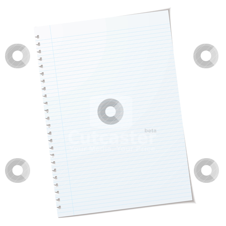 A4 ripped stock vector clipart, Single piece of a4 rulled paper with shadow and ripped holes by Michael Travers
