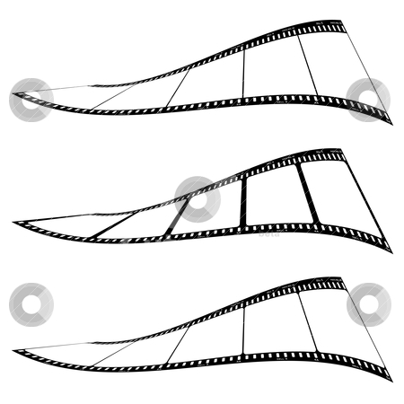Photo film strip twist stock vector clipart, Three pieces of film with variations twisted and with blank photo frame by Michael Travers