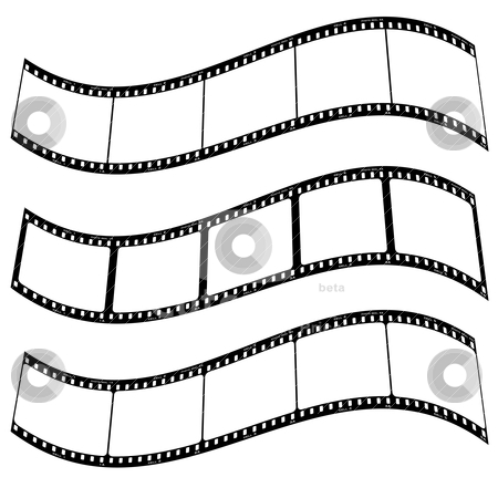 Photo film strip warp stock vector clipart, Three blank film strips with room to addd your own copy twisted by Michael Travers