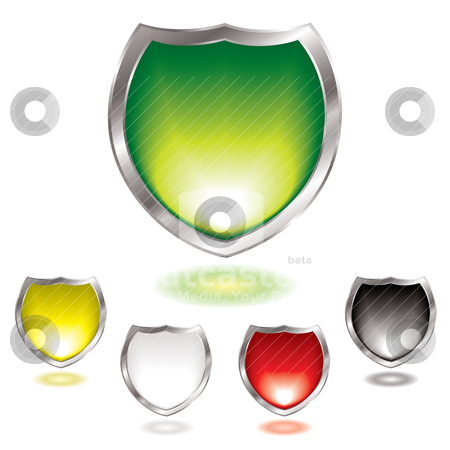 Gel shield blend stock vector clipart, Five gel filled shields with silver bevel with outer glow by Michael Travers