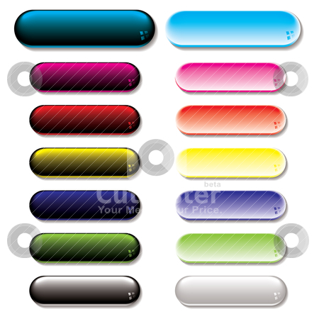 Gel glow button variation stock vector clipart, Collection of colorful gel filled buttons with shadow effect by Michael Travers