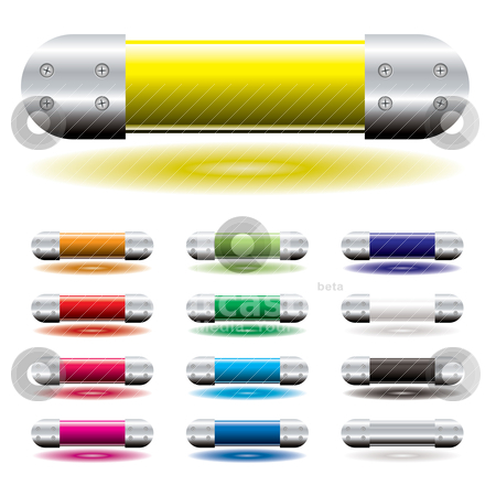 Icon tube stock vector clipart, Bright colorful tubes of colour ideal blank icons with metal ends by Michael Travers