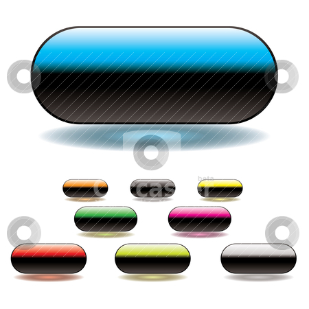Split button stock vector clipart, Gel filled lozenge buttong with space to add your own text by Michael Travers