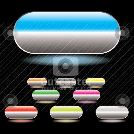 Split button white stock vector clipart, Collection of gel filled buttons with glowing drop shadow and black background by Michael Travers