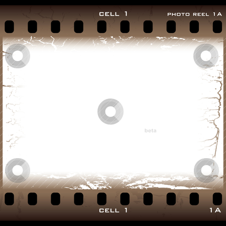 Brown grunge film cell stock vector clipart, Single piece of film with brown grunge effect by Michael Travers
